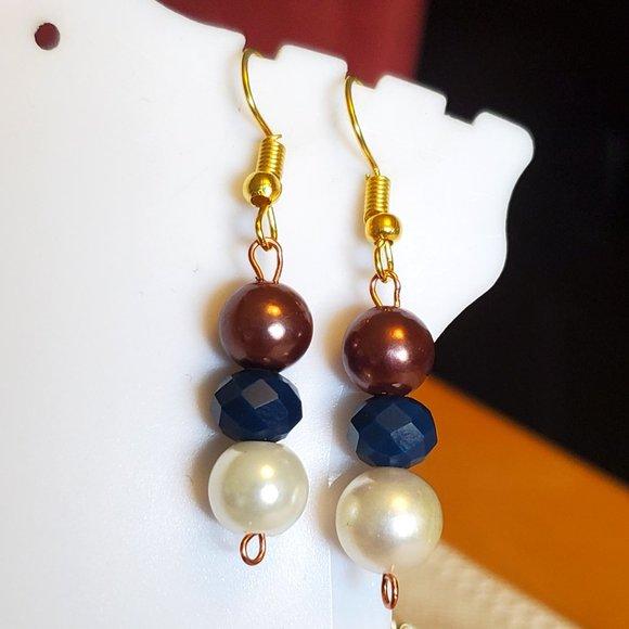Gold Tone Hook Czech Glass and Glass Bead Earrings